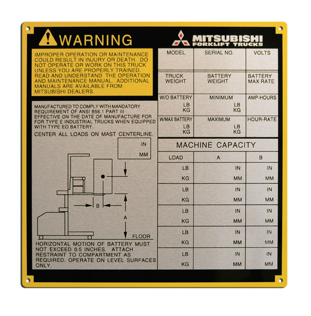 aluminum warning nameplate